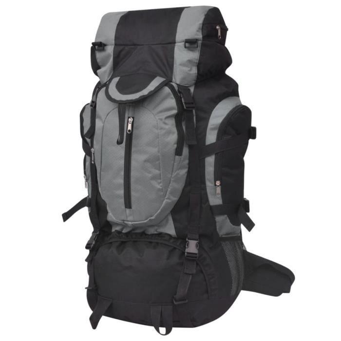 Sac à Dos Randonnée 75L Sport de Plein air Sac à Dos montagne pour escalade Trekking Alpinisme Noir et gris 37 x 22,5 x 73 cm