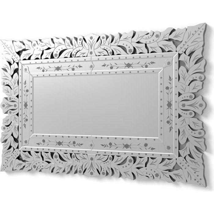 DekoArte VN009 - Miroirs Venetiens Rectangulaires - Décoration Entrée Toilettes - Miroirs Classiques Argent - 1 Pièce 120 x 78 cm