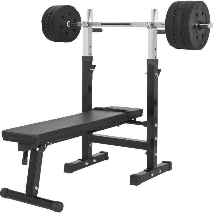 Gorilla Sports - Banc de musculation GS006 + Set disques en plastique et barre longue 37KG
