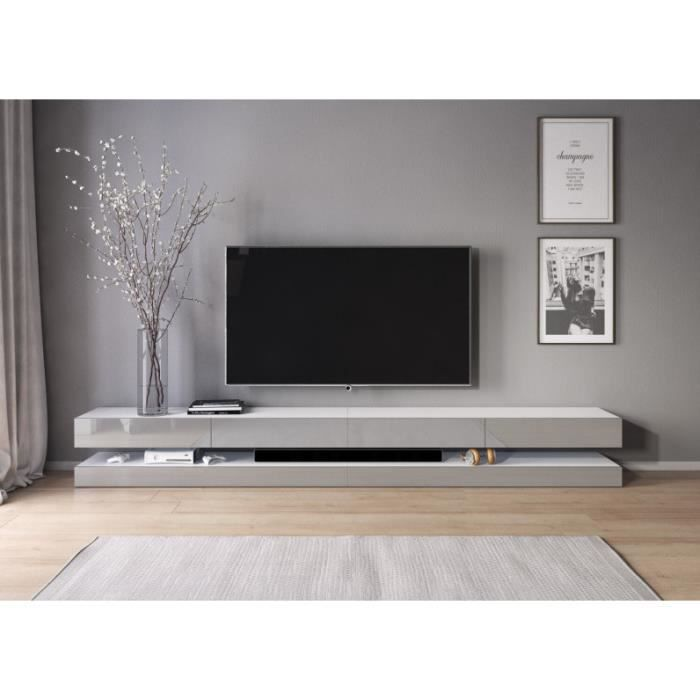 3xeLiving Meuble TV innovant et moderne Sajna 280cm blanc / gris brillant