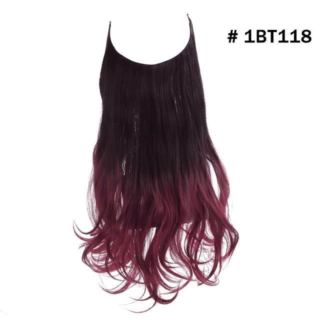 12 -Wave Halo Hair Extensions No Clip In Ombre Blonde Black Pink Synthetic Natural Hidden Secret #1BT118 Fake Hair Piece