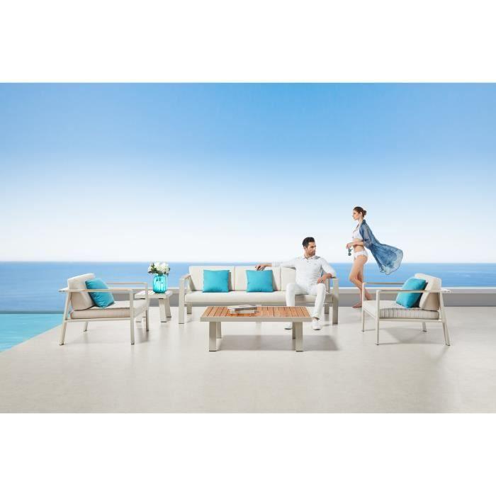 Salon bas de jardin haut de gamme aluminium et teck NOFI 5 places