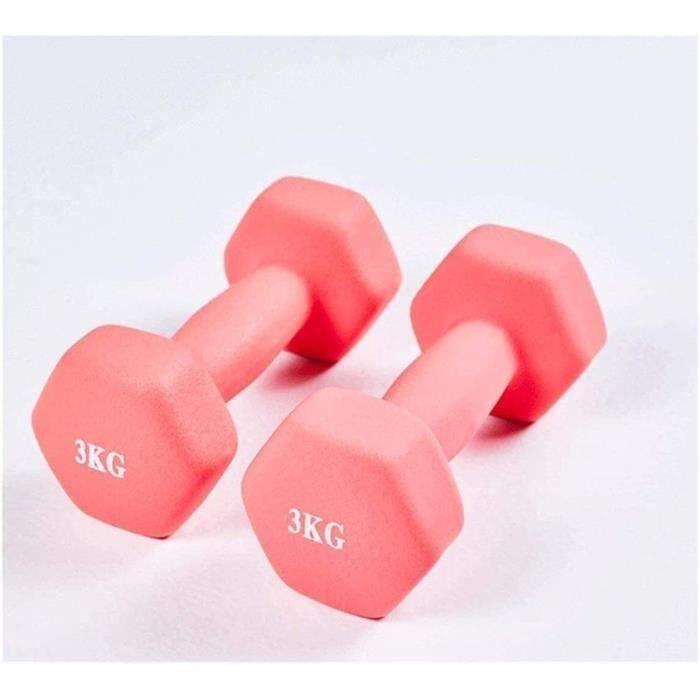 2 Haltères Fitness 3 kg Équipement De Musculation Pour Débutants avec Haltère Caoutchouté Hexagonal (Rose)