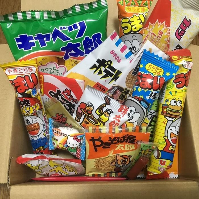 Dagashi Box Japonais Snacks 23pcs Umaibo Candy Gumi pomme de terre Chip Kitty chocolat avec AKIBA-KING Sticker