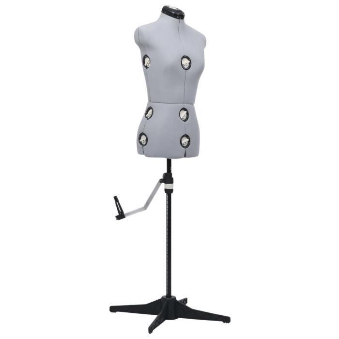 Meuble Déco, Mannequin de robe ajustable pour femme - Buste de couture - Gris S Taille 33-40 - 90555