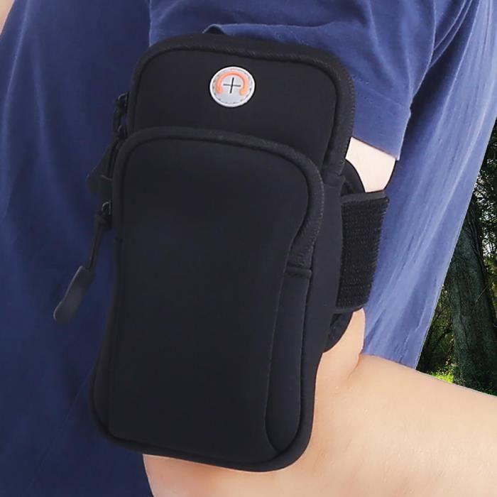 Drfeify Pochette de bras Sport de plein air course jogging exercice gym bras poignet pochette brassard téléphone cas sac noir