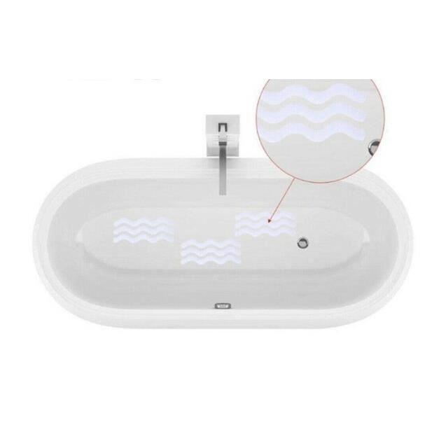 Tapis de bain,Bande de douche transparente ondulée antidérapante, autocollant antidérapant, baignoire Step - Type 6PCS S 1.3x18cm