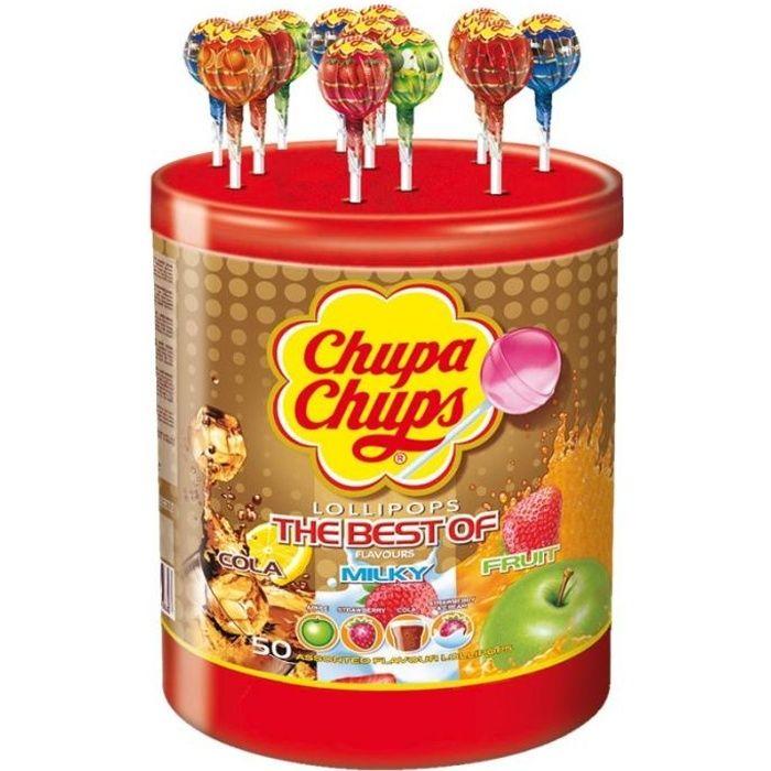 CHUPA CHUPS Tubo de 50 sucettes Best Of - Parfums pomme, fraise, cola et lait fraise
