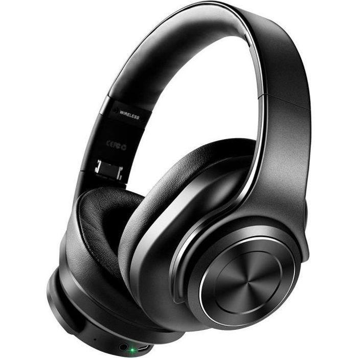COOCHEER Casque Bluetooth sans Fil Reduction de Buit Active, Casque audio avec microphone Stéréo Hi-FI - Noir