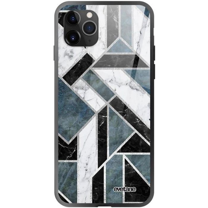 Coque en verre trempé iPhone 11 Pro Max Marbre Vert Graphique Ecriture Tendance et Design Evetane