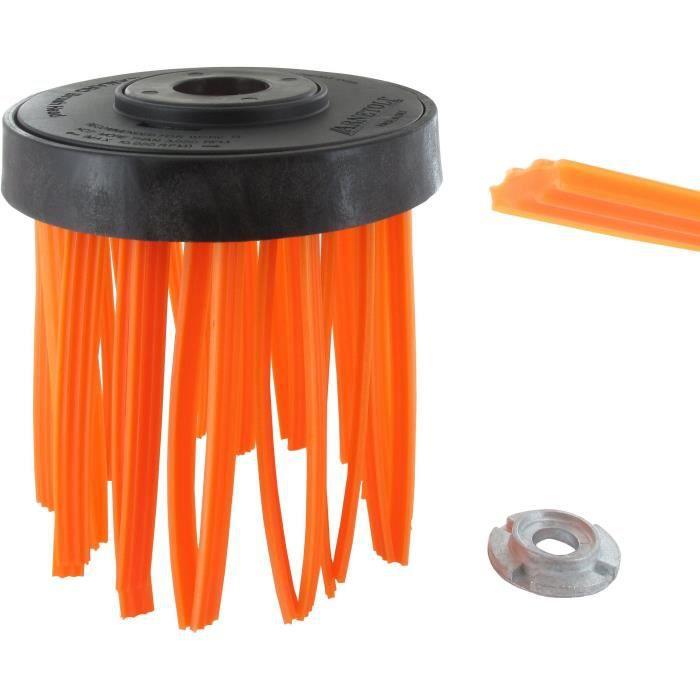 Tête plastique brosse fil nylon pour débroussailleuse, toutes cylindrées