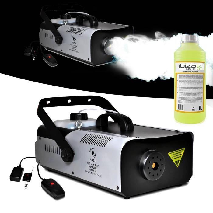 Machine à fumée 2000W capacité 2L + télécommandes + étrier de fixation FLASH + 1L de liquide