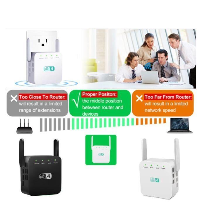 répéteur wifi sans fil extension wifi 300mbps amplificateur wi-fi 802.11n amplificateur de signal wi fi longue portée noir