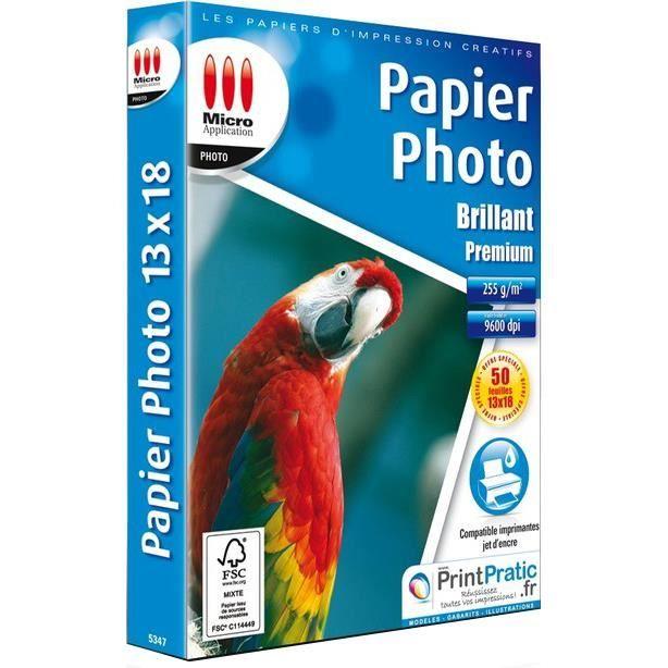 Pack de 50 papiers photo brillant Micro Application format 13 x18 cm