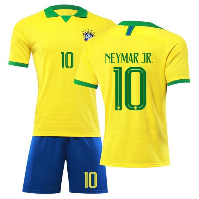 Bresil Maillot de Foot Short Football Soccer NO.10 Neymar JR 2019 2020 Pas Cher Maillot Equipe de Bresil Football pour Adulte Homme
