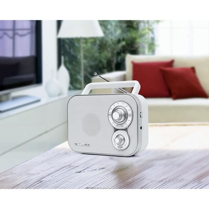 radio portable FM blanc gris