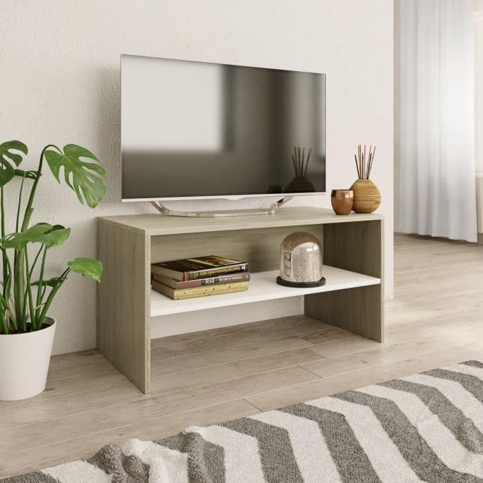 BEST SALE® Meuble TV Blanc et chêne sonoma 80 x 40 x 40 cm Aggloméré - 87956