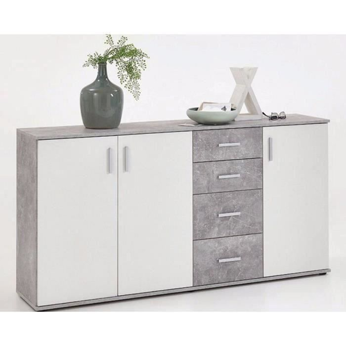 Buffet 3 portes coloris gris béton LA-blanc brillant - Dim : 160 x 83 x 35 cm