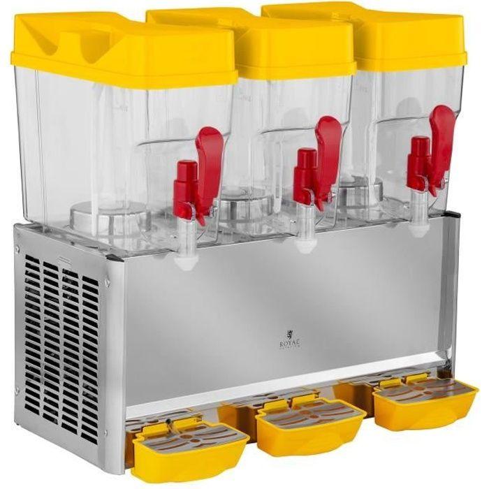 Royal Catering Distributeur de jus Fontaine Boisson froide réfrigérée 3 Cuves de 18L Sans Bpa 280W 7 - 12 dc RCSD-54C