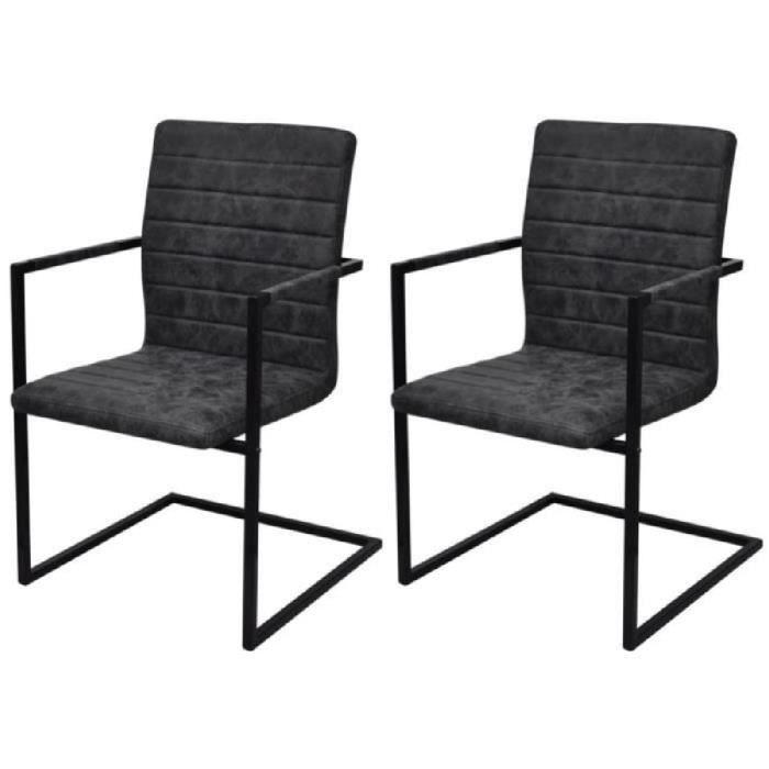 2pcs Chaises à nervure en cantilever Noir avec accoudoirs pour maison cuisine salle à manger 53 x 61 x 88,2 cm