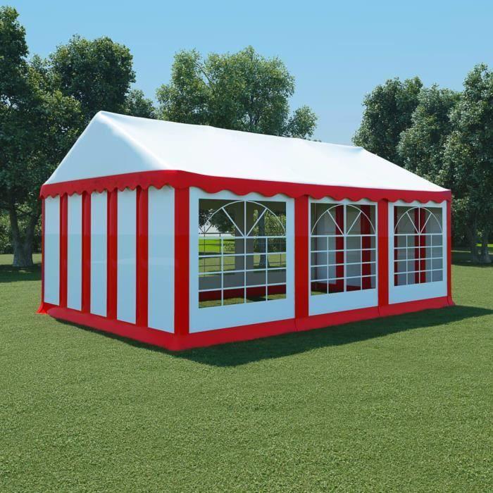 vidaXL Chapiteau de jardin PVC 4x6 m Rouge et blanc