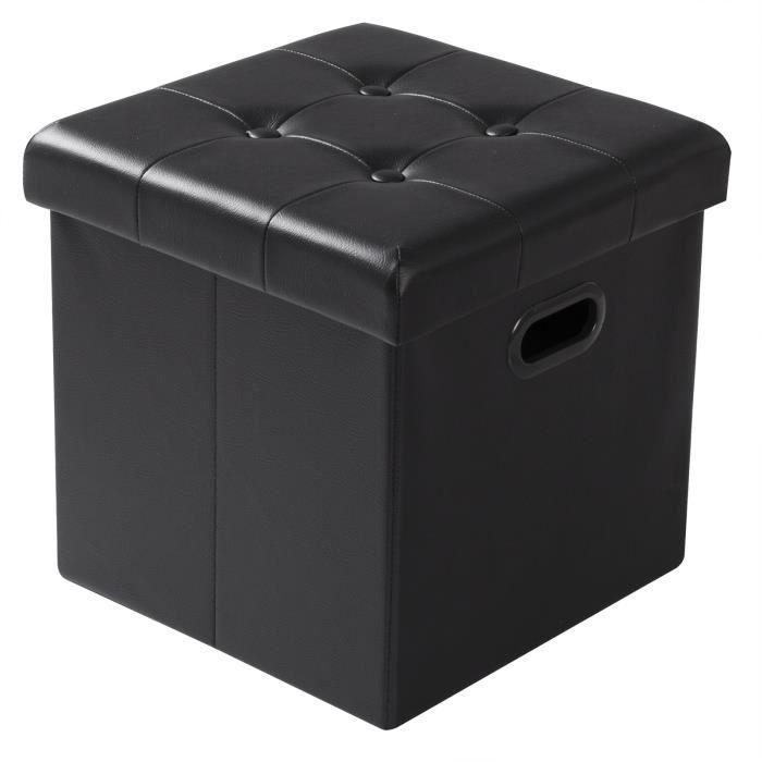 WOLTU Tabouret pouf coffre cube, Repose-pieds, Boîte de rangement rembourré en similicuir, 37.5 x 37.5 x 38 cm, Noir