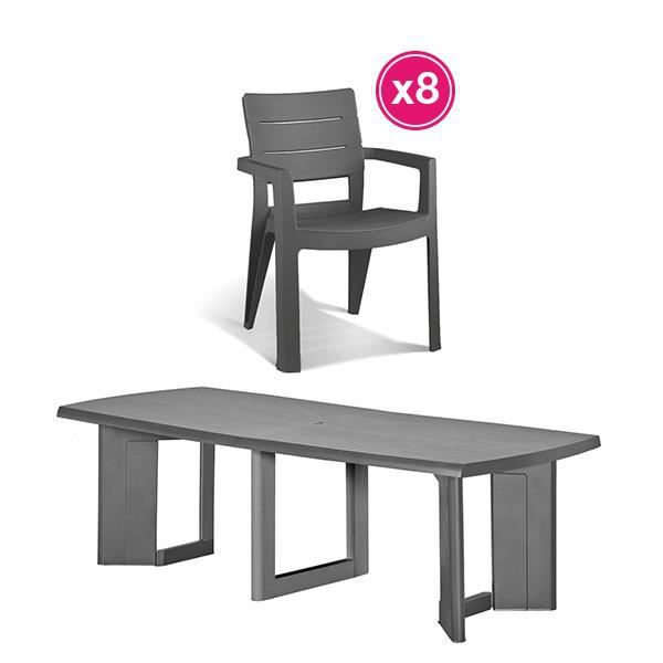 Salon de jardin: table graphite + 8 fauteuilsgraphite ALLIBERT ...