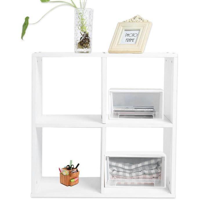 Bibliothèque avec Bureau Salon Moderne Armoire rangement en cubes TAM 4 bois Etagère Livres meuble blanc Cube pour gb7Y6yf