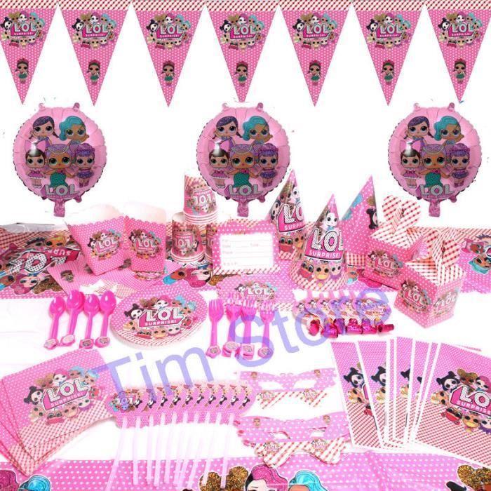 rose Tasses Serviette Housse De 8 invités LOL surprise poupées Fête D/'Anniversaire Assiettes
