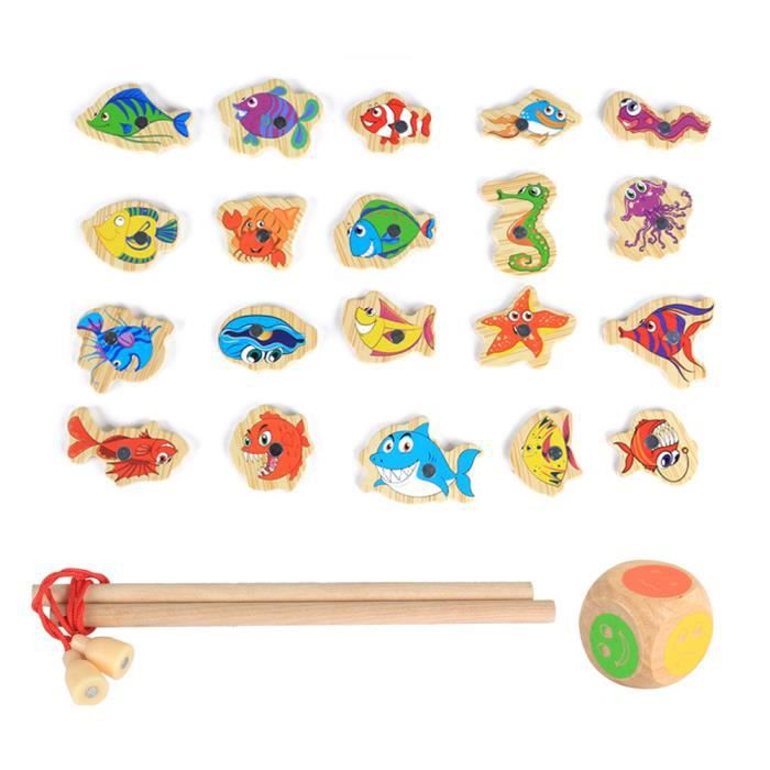 MOULINET 6495@ Wooden Magnetic Fishing Toy Set Fish Game Ed