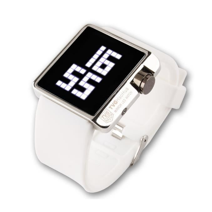 montre led watch tvg siliconne mirroir homme femme blanc achat vente montre cdiscount. Black Bedroom Furniture Sets. Home Design Ideas
