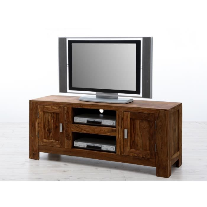 meuble tv monrovia avec 2 portes en palissandre brun massivum achat vente meuble tv meuble. Black Bedroom Furniture Sets. Home Design Ideas