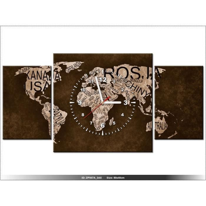 80x40cm la carte du monde horloge murale tableau. Black Bedroom Furniture Sets. Home Design Ideas