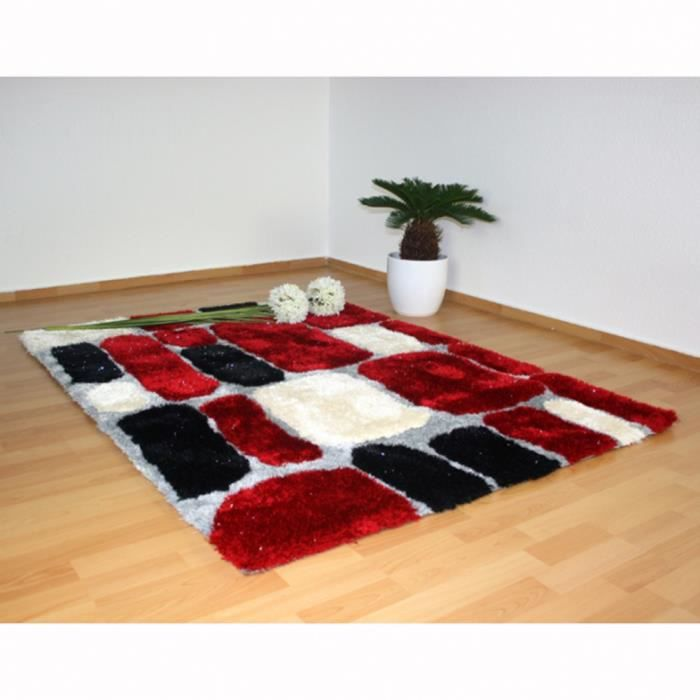 tapis shaggy rouge blanc gris 160 x 230 cm achat vente tapis cdiscount. Black Bedroom Furniture Sets. Home Design Ideas