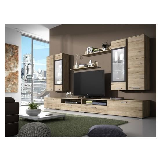 meuble tv design mural arann ii bois clair composition bois achat vente meuble tv meuble. Black Bedroom Furniture Sets. Home Design Ideas