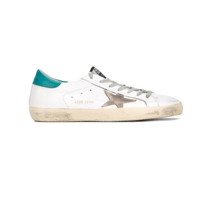 GOLDEN GOOSE HOMME G30MS590B33 BLANC/VERT CUIR BASKETS