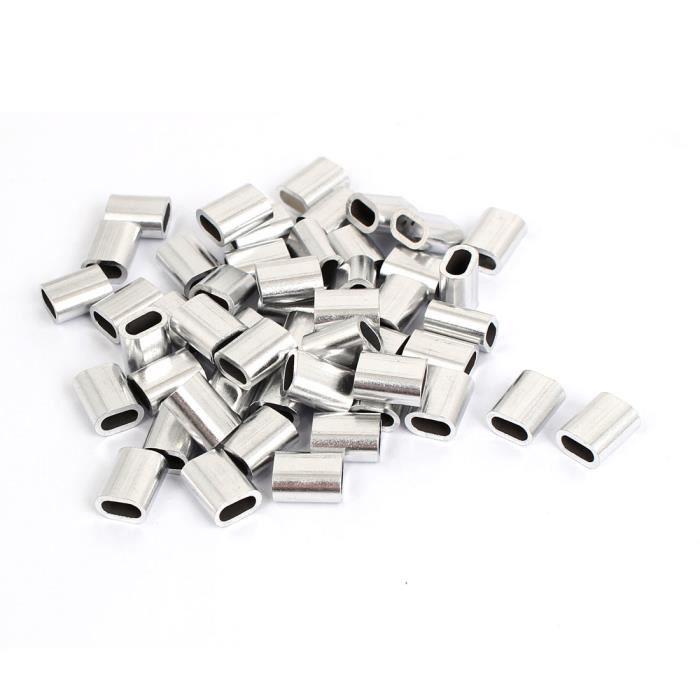"""3mm 1//8/"""" en Aluminium à Câble Câble Clip Boucle Manchons à Sertir 50Pcs"""
