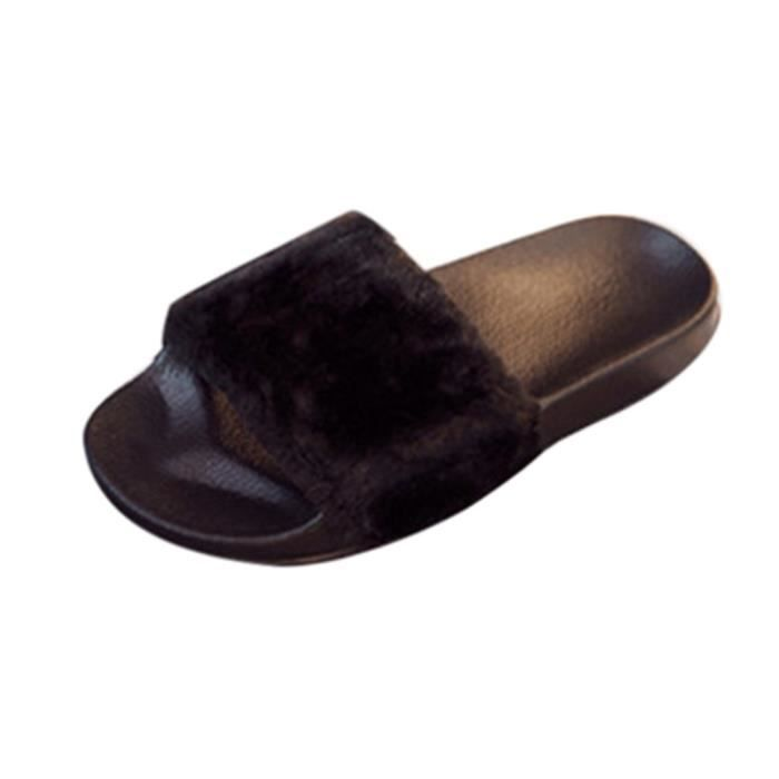 Femmes Dames Slip On Sliders Fluffy Faux Fourrure Flat Slipper Flip Flop Sandale Noir