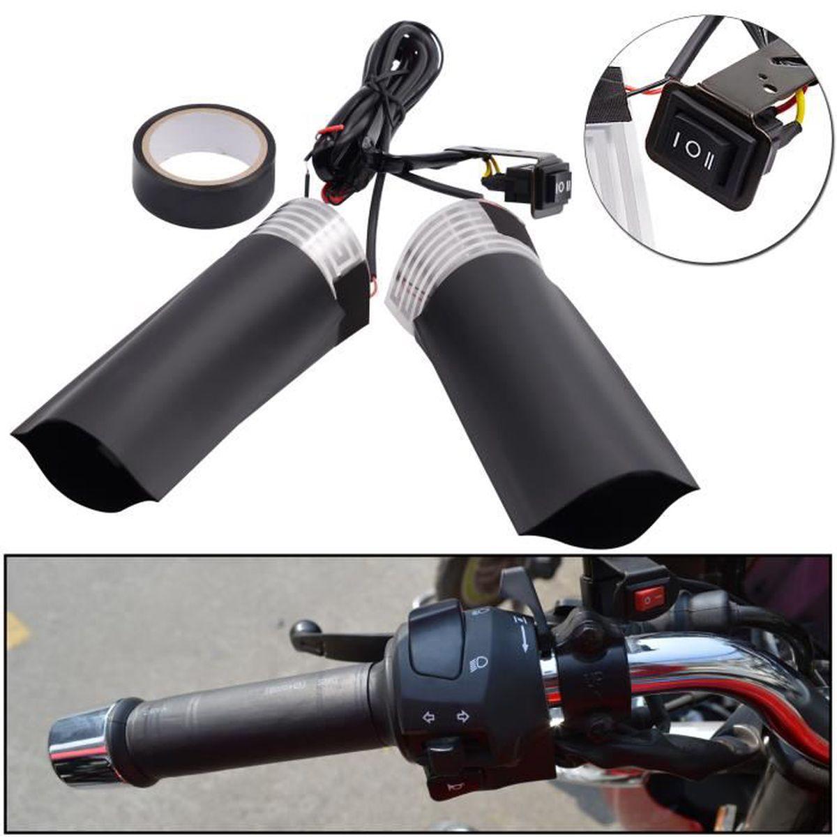 Poign/ées chauffantes USB pour guidon de moto avec interrupteur de contr/ôle de la temp/érature noir