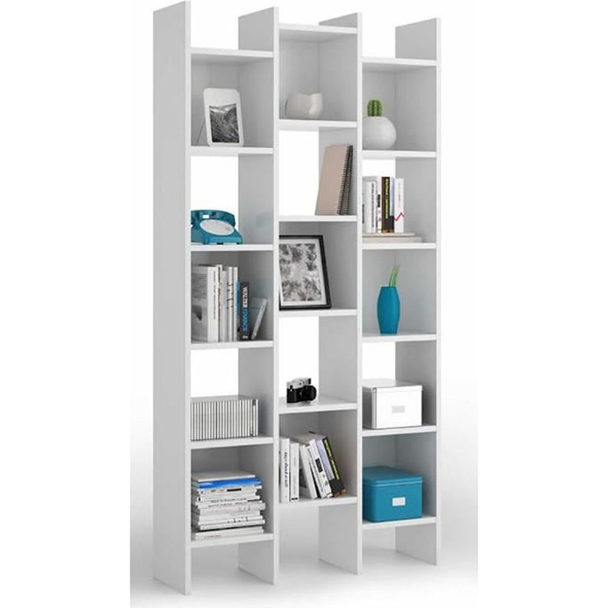 biblioth que blanche avec 15 compartiments dim h 192 x l 96 x p 29 cm achat vente. Black Bedroom Furniture Sets. Home Design Ideas