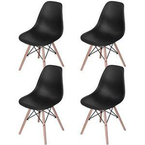 CHAISE Lot de 4 scandinave Chaise de salle à manger noire