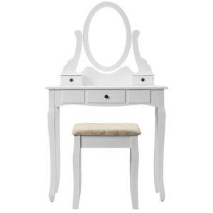 COIFFEUSE Coiffeuse Table de Maquillage avec 1 Miroir 3 Tiro