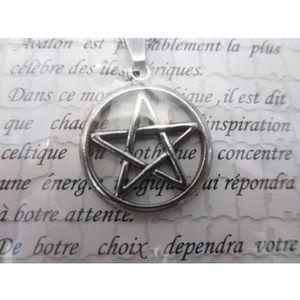 Collier Femme,Homme,Argent,Chaîne Longue,Pentagramme,Esoterique,Protection