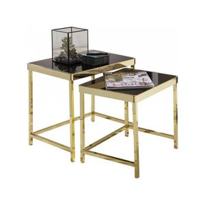 TABLE BASSE Ensemble de 2 tables gigognes design plateau en ve