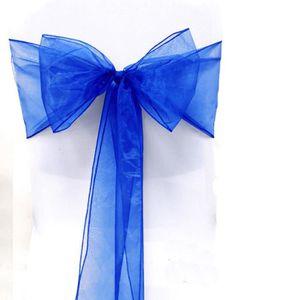 TULLE - NOEUD - RUBAN Lot 25 Noeuds Chaise Organza Saphir bleu Baptême D