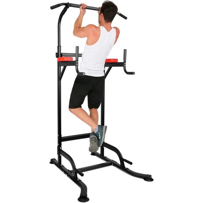 Chaise Romaine Power Tower,Tour de Musculation Multifonctions Barre de Traction,Entraîneur pour Abdominaux,Dos et Triceps, Pull-ups