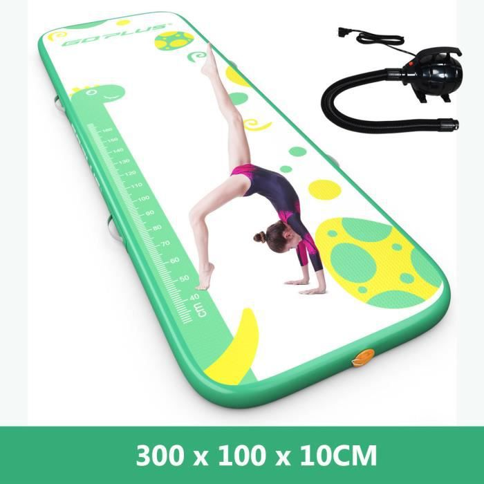 COSTWAY Piste Gonflable 300 x 100 x 10CM Tapis de Gymnastique Gonflable Tapis Tumbling avec Pomp Electrique Vert Charge 120KG