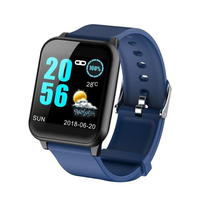 Montre Connectée Homme Femme Bleu, Grand Écran Fitness Tracker Sport Fréquence Cardiaque Moniteur de Tension Artérielle -MAX