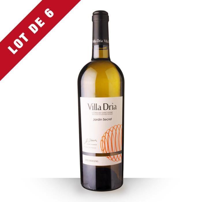 Lot de 6 - Villa Dria Jardin Secret 2018 IGP Côtes de Gascogne - 6x75cl - Vin Blanc