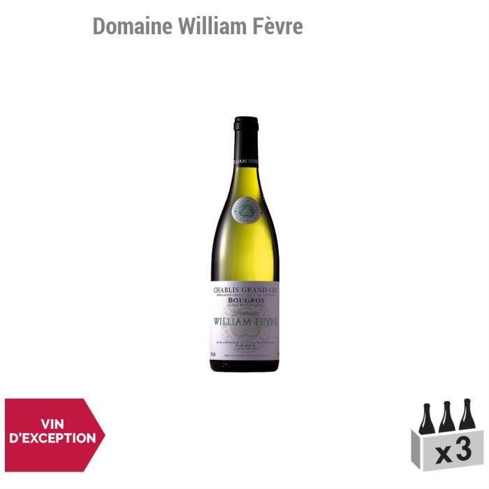 Chablis grand cru Bougros Côte Bouguerots Blanc 2013 - Lot de 3x75cl - Domaine William Fèvre - Vin AOC Blanc de Bourgogne - Cépage